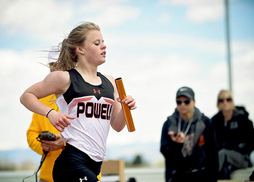 Freshman sprinter Jenna Hillman crosses the finish line in the 4x400 relay at the Rocky Mountain Invitational in Cowley last month. Hillman will compete in four events for the Lady Panthers in this weekend's 3A State Track and Field Meet in Casper.