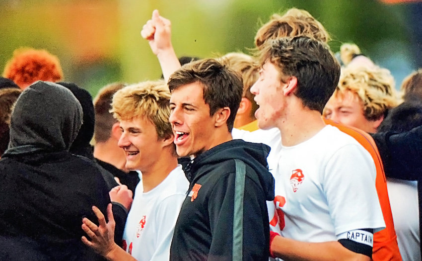 Members of the Powell High School boys' soccer team celebrate their 1-0 win over Riverton on Friday evening at the Class 3A state tournament. The win puts PHS in Saturday's championship game.