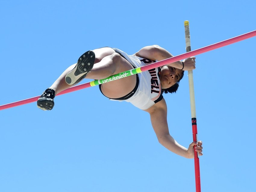 Lady Panther Emma Karhu vaults her way to a third-place finish in the pole vault on Friday, clearing a personal best height of 10 feet.