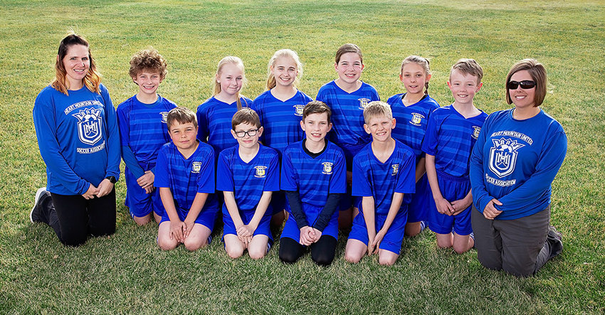 The Heart Mountain U12 soccer team had a successful spring season, advancing to the championship game in two of the four tournaments they participated in. Back row (from left): Coach Rachel Bitton, Breckyn Kobbe, Brenna Henderson, Emily Orr, Angelina Olson, Katelyn Floy, Sean Ferguson and Coach Jael Fisher. Front row: Cody Fisher, Braylon Marchant, Caden Nelson and Colten Bitton.