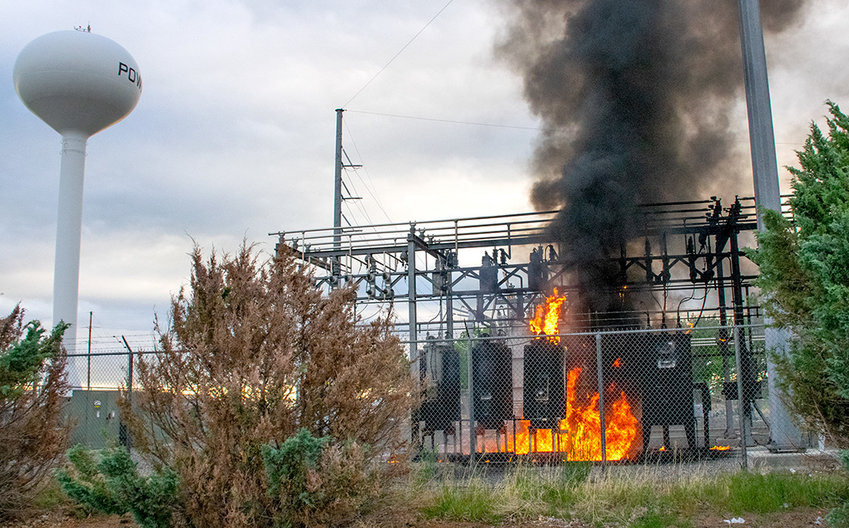 The fire at the Vining Substation on North Ingalls Street Saturday morning crippled Powell's electrical grid, leaving the town entirely without power. Crews worked through the day to restore and maintain power for residents and businesses.