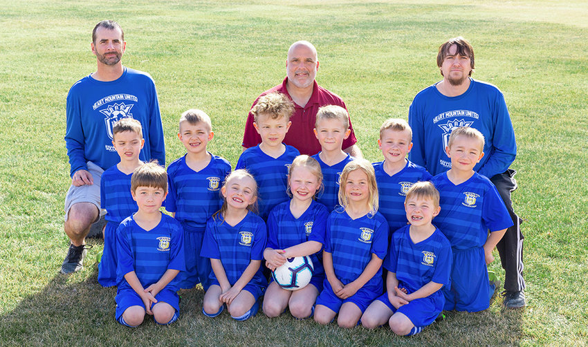 The Heart Mountain U8 White soccer team had a fantastic spring season, winning the Snickers Cup and the State Cup. Back row: Coaches Curtis Rohrer, Pat D'Alessandro and Travis Rapp; not pictured Chad Curtis. Middle row: Christiano D'Alessandro, Reese Ouellette, Connor Ferguson, Paxton Hernandez, Gavin Marchant and Braeden Curtis. Front row: Tyler Cole, Lilly Bertagnole, Timber Eastman, Rilee Rohrer and Paele Rapp.