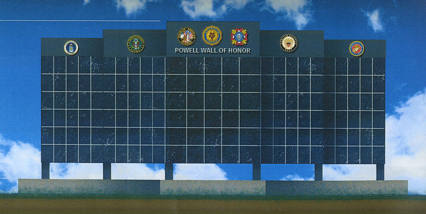 This illustration shows the concept currently being considered for the Wall of Honor, intended to feature the names of every veteran of the U.S. Armed Forces who ever lived in Powell.