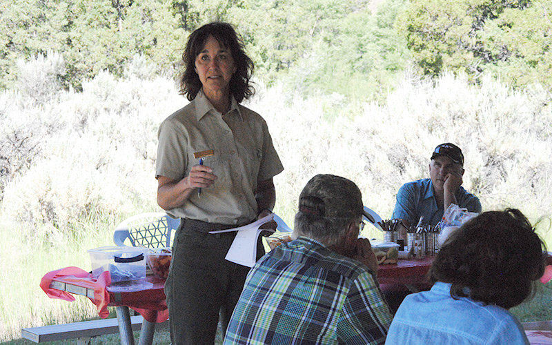 Sue Stresser, North Zone district ranger on the Shoshone National Forest, speaks to Wapiti cabin owners Saturday during an annual gathering at the Horse Creek Campground. She urged caution in the wake of record spring moisture on the district that has spurred grass and brush growth. Dave Wilkerson, president of the Forest Cabin Permitees Association, is pictured in the background.
