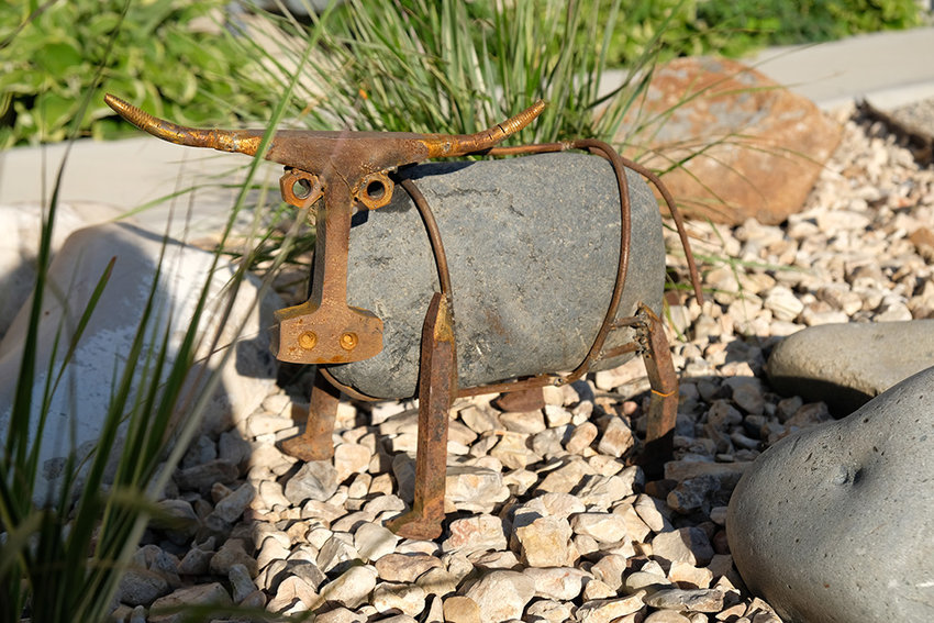 For the first time, the Park County Fair will feature works of art made from 'farm junk.' This cow — crafted by Steve Johnston from railroad spikes, a rock and other rusty materials— wasn't submitted to the new fair contest, but other pieces from local residents will be on display.