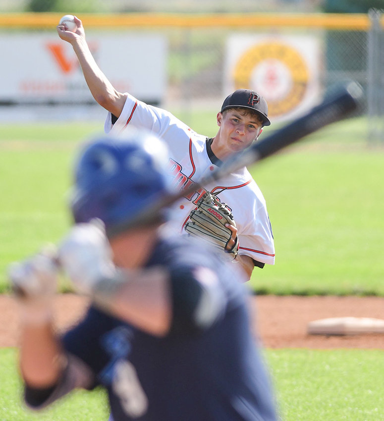 Powell Pioneers' pitcher Cameron Wentz, seen here in a recent game against the 406 Flyers, will start at 10 a.m. today (Tuesday) against the Cheyenne Hawks in the opening round action of the Wyoming Legion Class A State Tournament in Douglas.