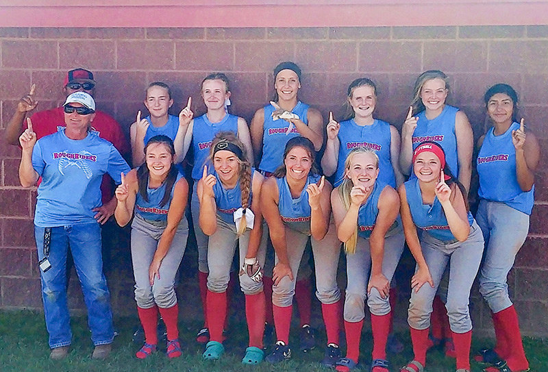 The Powell Roughriders 16U fastpitch softball team had an outstanding state tournament in Casper earlier this month, winning the 16U Rec division and finishing second in the 16U Open division. Pictured from left are, bottom row: Coach Cheryl White, Amber Visocky, Mallory Brown, Treva Williams, Rylee White and Allyson Visocky; top row: Coach Johnny Velasquez, Sara Riolo, Lillie Beck, Marisa Williams, Madi Graves, Addison Braten and Monique Velasquez.