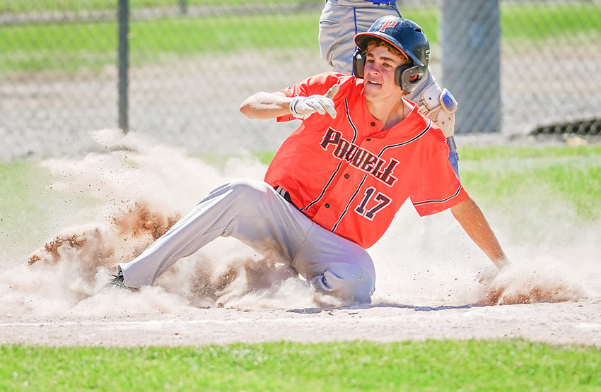 Pioneer shortstop Jesse Brown slides into home during a game against Laurel, Montana, earlier this season. Brown and his teammates were in Douglas this week for the Wyoming Legion A State Tournament.
