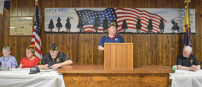 Russell Stafford, commander of the Hughes-Pittinger American Legion Post 26, speaks at a Legion meeting in May. Thanks to new federal legislation, more veterans are now eligible to join the Legion as members.