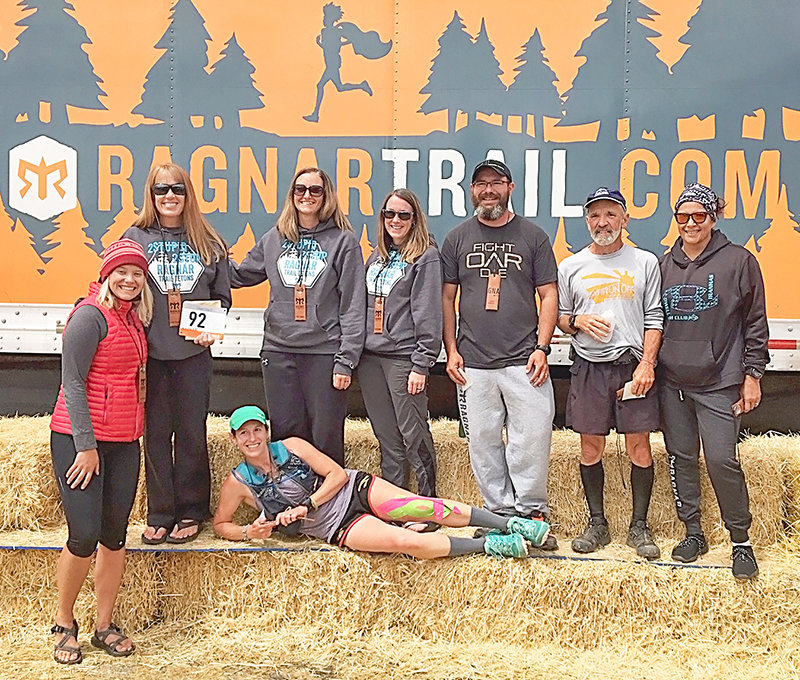 Members of 2 Stupid 2 Stop Team Two are all smiles following the end of the Ragnar Tetons Trail Race in July. Pictured (from left) are Amanda Wilson, Joelyn Nordeen, Heather Christensen (in front), captain Tracy Gates, Kodi Cooley, Carl Christensen, Jeff Rode and Tanya Bonner.