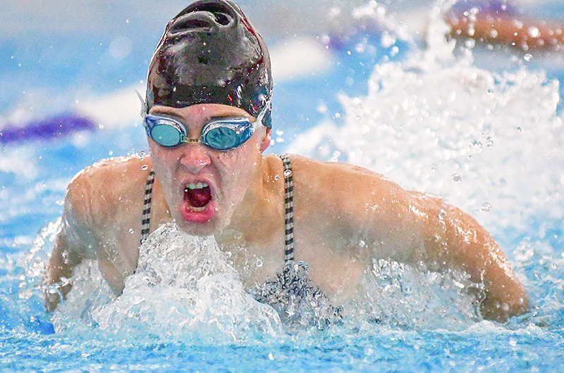 PHS swimmer Addison Moretti qualified for state in the 100 butterfly and the 100 backstroke Saturday at the Bruce Gresly Pentathlon in Lander. The Lady Panthers finished third at the meet, behind Lander and Sublette County.