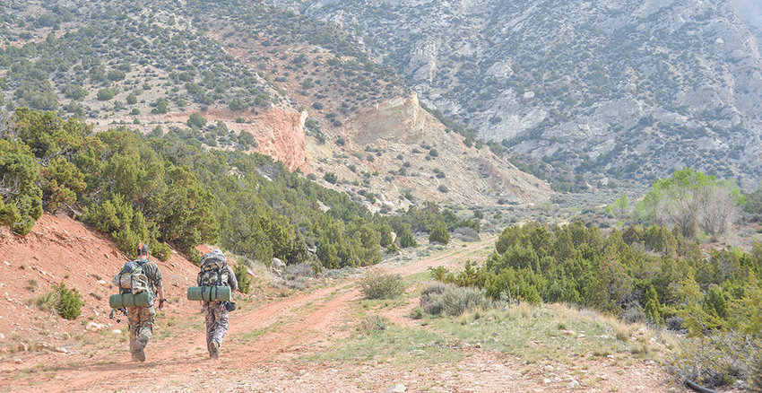 Bow hunters hike into Cottonwood Canyon east of Lovell. If heading out on a hunt, be sure to know which property is public and which is private.
