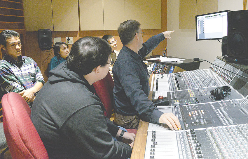 Music professor Robert Rumbolz lectures in the Northwest College audio recording lab. The construction of the studio was done in consultation with renowned acoustician John Storyk.