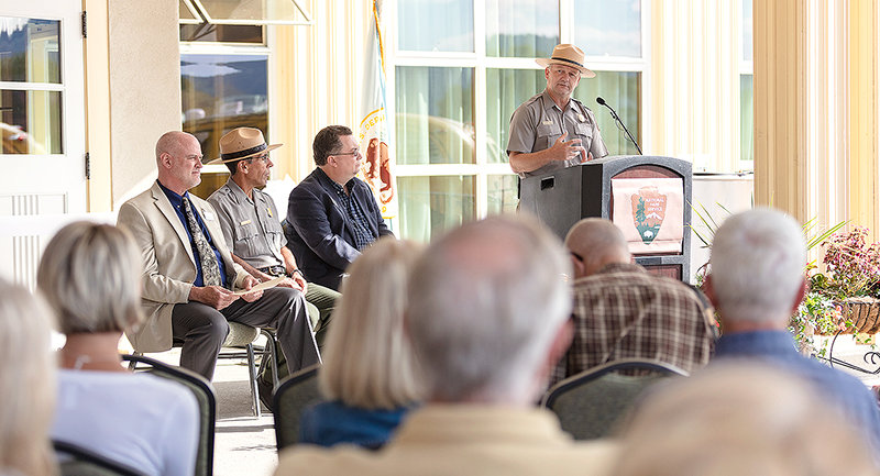 Yellowstone Superintendent Cam Sholly speaks at the Mammoth Hot Springs Hotel reopening ceremony earlier this month. The historic hotel underwent a $30 million renovation.