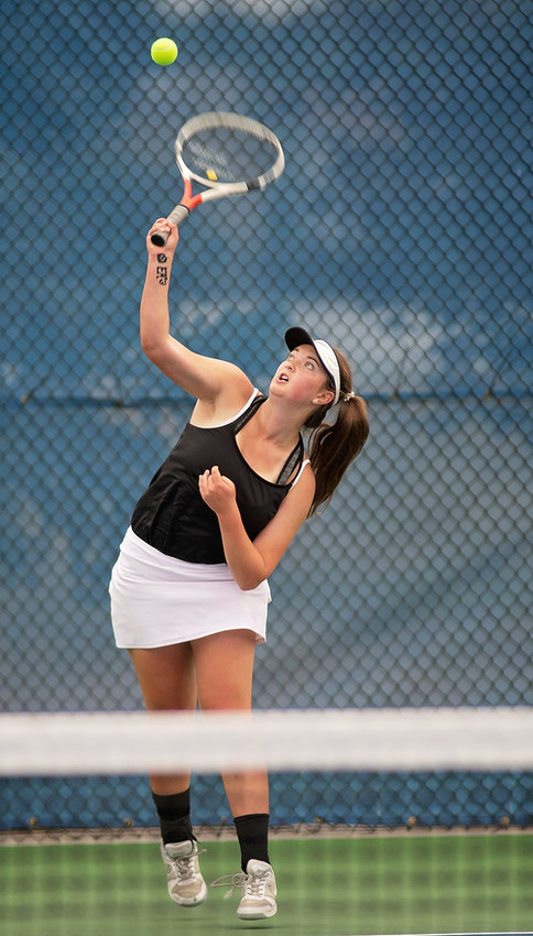 PHS tennis player Ashley Dunkerley serves to an opponent during last weekend's Wyoming State Tennis Championship Tournament in Gillette. Dunkerley finished with a 1-2 record at No. 2 singles.