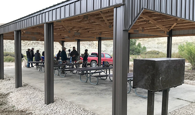 The work and contributions of several groups resulted in the construction of this picnic shelter at the Beartooth Ranch in Clark, along with a smaller shelter.