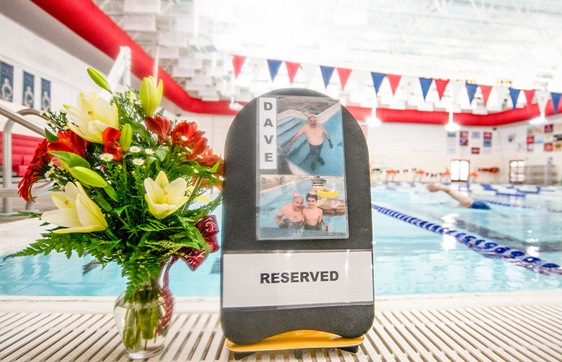 One lane at the Powell Aquatic Center's lap pool was left vacant on Tuesday morning as a tribute to the late David Warwick, who was a regular at the center. Warwick died late last month.