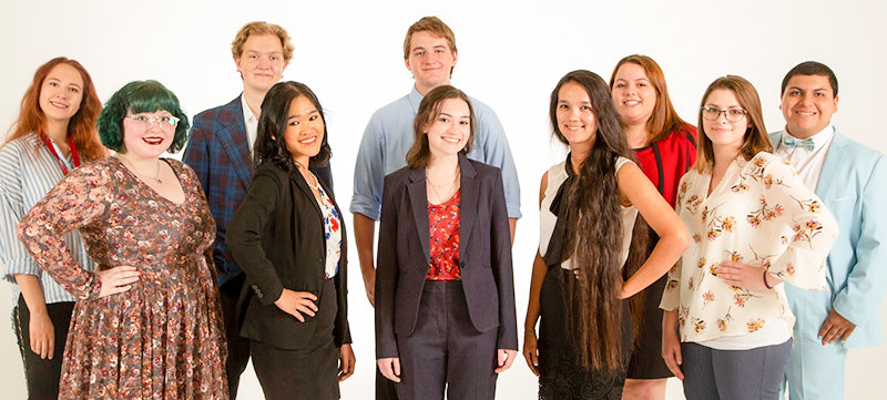 The NWC Forensics Team claimed the top spot among community colleges at the Pioneer Trails tournament in Casper. From left: Tanya Novosiltseva, Genesis Schell, Tyler Hoem, Nasheil Del Rosario, Aidan Hunt, Abigaile Grubb, Bossan Abdyyeva, Mariah Mader, Lorna Gage and Brendan Kachnowski.