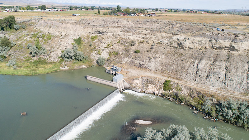This photo, captured with a drone, shows water from the Shoshone River being diverted into the Corbett Tunnel, which provides water to over 50,000 acres of farmland around Powell. Powell High School teachers hope to receive a grant to get new drones and drone training for students to help local irrigation districts check their ditches and infrastructure.