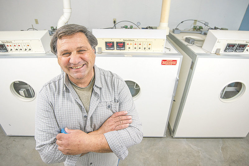 Karl Bear, manager of Diamond Wings Upland Game Birds in Powell, is all smiles inside the bird farm's new hatchery this week. He received notice Wednesday that the farm's application and inspection were approved and they'll be allowed to collect wild sage grouse eggs this spring in an effort to raise the species in captivity. It promises to be the first such attempt in U.S. history.