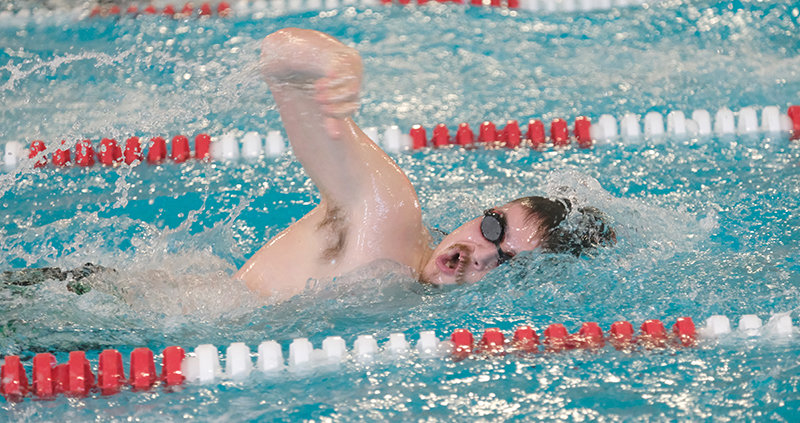 PHS senior Ben Cannizzaro, seen here at an earlier competition in Riverton, swam his way to a state-qualifying 500 freestyle time Saturday at the Worland Invitational swim meet. The Panthers host Worland and Cody tonight (Tuesday) at the Powell Aquatic Center at 5 p.m.