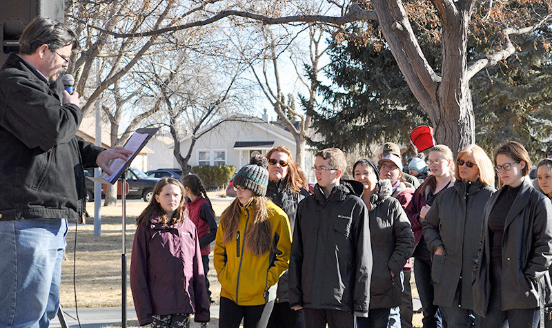 Pastor Shane Legler speaks to the crowd gathered at the Stand for Life event at Washington Park in Powell. About 125 people attended Saturday's event, which coincided with recent pro-life marches across the country.