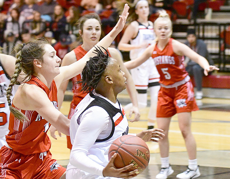Samiyah Worrell, shown in an earlier game against Western Wyoming, led the Trappers with 13 points in each of two losses for a total of 26 on the road last week at Laramie County and Eastern Wyoming.