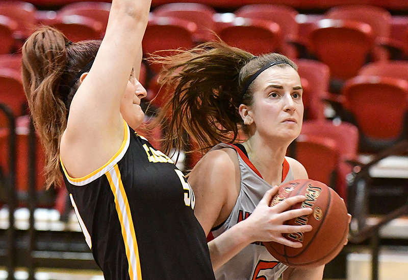 Adela Smutna totaled 35 points and 17 rebounds for the Trappers at Sheridan and Western Wyoming last week. She is shown in earlier regular season action against Gillette College — who the Trappers visit Friday in Region IX North postseason play.