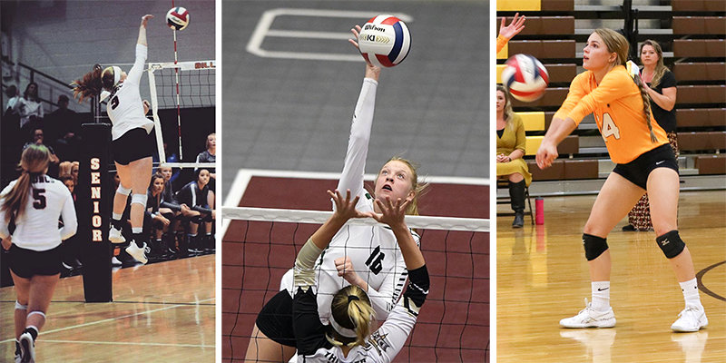 From left, Karli Steiner of Billings, Sabree Adams of Logan, Utah, and Aubrianne Crosby of Cowley are among the prep players who plan to bring their talents to the Northwest College volleyball team next season.