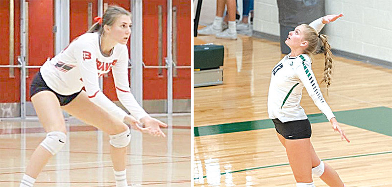Left: Sayler Larson will join the NWC program from Bountiful' Utah. Right: Jacie Walker (13) of Green Canyon High School in Logan, Utah, was Female Athlete of the Year at her school and helped carry Green Canyon to a 4A state volleyball championship last season. In recruiting her to NWC, volleyball coach Scott Keister said she has a killer serve.