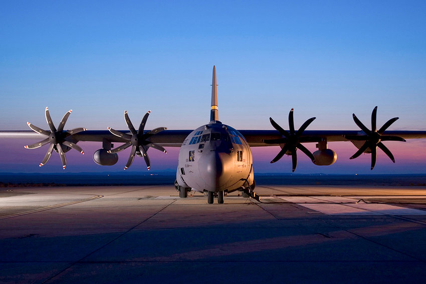 A pair of C-130 aircraft assigned to the Wyoming Air National Guard — like this one seen on the ramp at Edwards Air Force Base in 2016 — will perform an aerial salute to Wyoming's health care providers on Friday, flying over Powell Valley Healthcare, Cody Regional Health, North Big Horn Hospital and 30 other hospitals around the state.