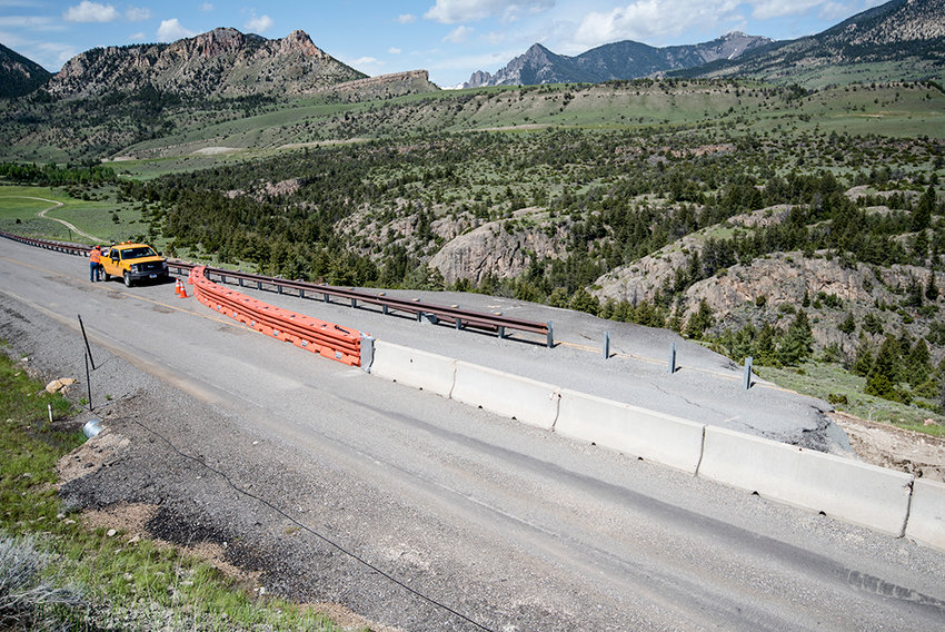 Crews will make slide repairs to a portion of the Chief Joseph Highway to stabilize the area. This 2018 photo shows damage to a section of the road.