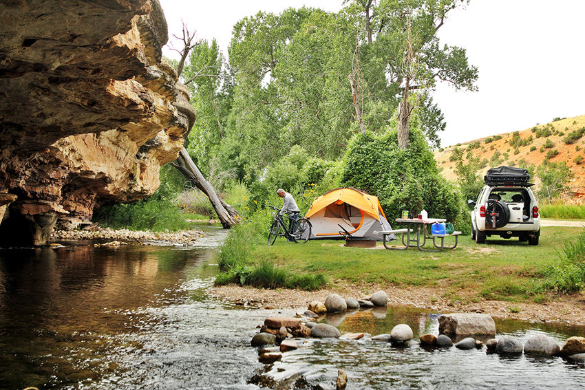 Wyoming State Parks — including the Medicine Lodge State Archaeological Site pictured here — opened to out-of-state residents on Monday. Campsites in state parks had been closed to visitors from outside of Wyoming to cut down on the spread of COVID-19.