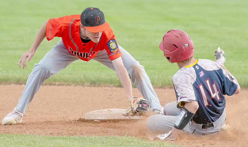 Powell Pioneer Trey Stenerson applies a tag during a June 10 game at Ed Lynn Memorial Field. On Monday, the Pioneers dropped a pair of road games to the Billings Cardinals.