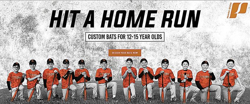 The Powell Storm 10U baseball team is featured on the Prairie Sticks Bat Company website. Pictured from left are: James Heny, Owen Jones, Karcher Foley, Carter Fauskee, Kamea Wisniewski, Tucker Muecke, Ryder Stewart, Gentry Mixon, Memphis Solberg, Karzten Carter, Wade Gernhart and Tucker Phillips.