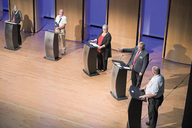 Republican U.S. Senate candidates (from left) former U.S. Rep. Cynthia Lummis, Michael Kemler, Donna Rice, Bryan Miller and Josh Wheeler face off during a debate in Sheridan on Tuesday. The debate featured nine GOP candidates for the office squaring off in two separate rounds, where they discussed items including border security, the nation's response to the coronavirus pandemic and government spending.
