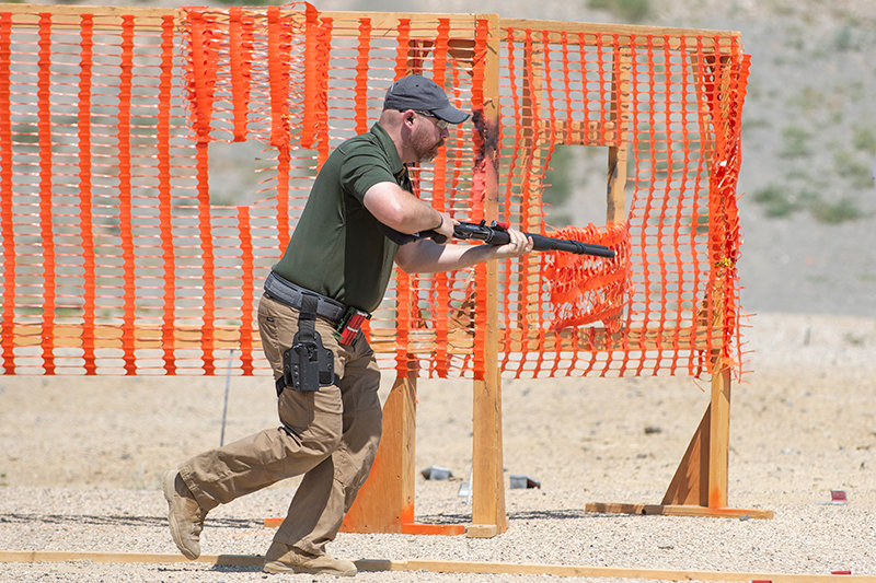 Casey McFarlin moves through the ninth stage of the 2020 Wyoming Magpul Governor's Match, looking for targets with his shotgun. McFarlin was the highest scoring local participant at the event, held July 31 to Aug. 2.