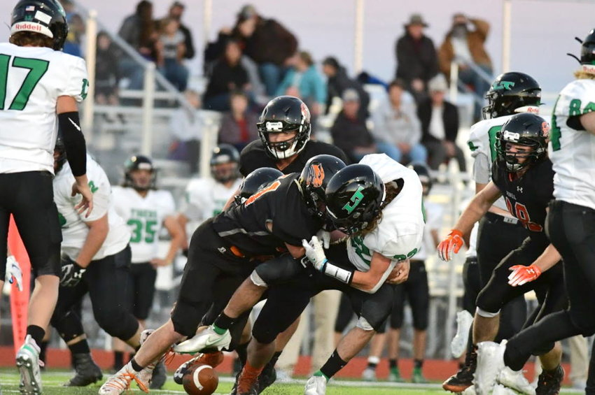 Senior football player Seth Horton forces a fumble in Powell's 31-0 home win over Lander Valley on Friday. The Panthers are now 3-0 and have allowed just 13 total points on the season.