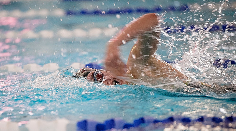 Elizabeth Liggett swims in the 200 individual medley at the Powell Quad earlier in the season. The PHS girls' swimming and diving team has yet to lose in the 2020 season.