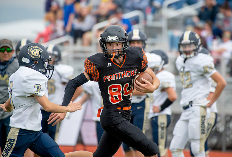 PHS receiver Austin Graft comes down with a catch in the third quarter of Powell's 12-0 froshmore win over Cody on Sept. 25. The Panthers' sub-varsity teams have gone 5-1 overall this year.