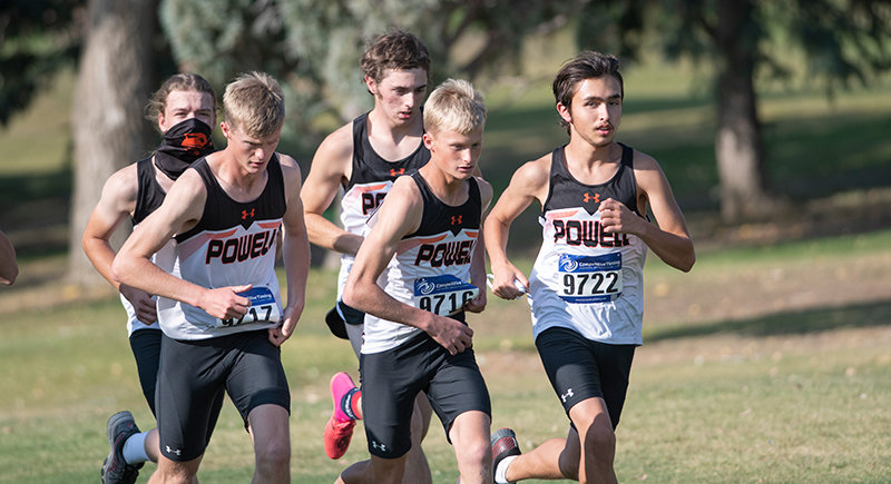 From left, Riley McKeen, Lane Franks, Cole Frank, Chance Franks and Riley Schiller run in the Pinnacle Bank Powell Invite on Friday, Oct. 9. The Panthers will compete at the state meet in Afton this weekend.