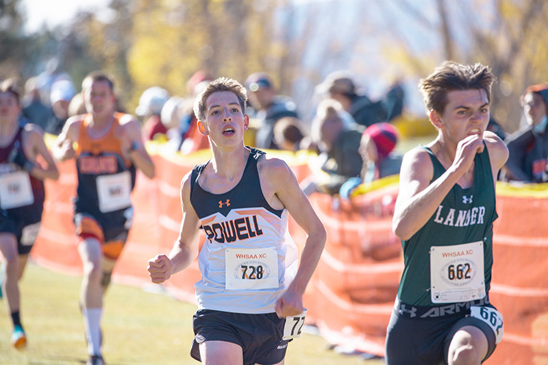PHS sophomore Daniel Merritt hustles toward the finish line during Friday's Class 3A State Meet in Afton, en route to a 27th-place finish. The meet was moved up a day due to poor weather forecast on Saturday.