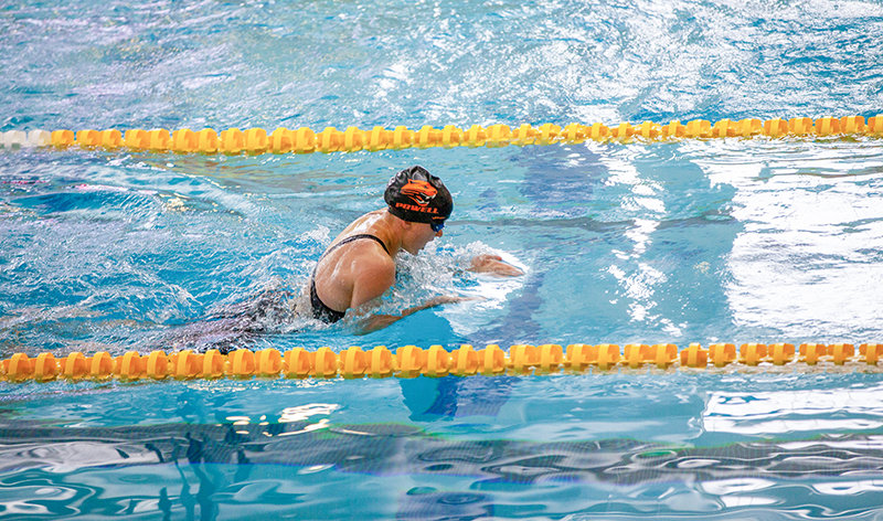 Sophomore Lucia Harder competes in the breaststroke portion of the 200 individual medley at the 3A state meet in Laramie. Harder finished sixth in the event with a time of 2:24.90.