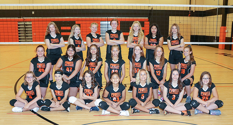 Members of the Powell Middle School seventh-grade volleyball team pose for a group photo. Pictured are (from left) front row: Taryn Shorb, Averie Warner, Kadence Knuth, Neveah Garcia, Coy Erickson, Isabelle Urbach and Brooklyn Neves; middle row: Deanna Gibson, Janicia Ramirez, Maria Mendoza, Kate Williams, Josie Werner, Cheyenne Lain and Sharae Shoopman; and back row: Alyssa Ely, Kyra Morrow, Norah Startin, Lexi Reeves, Hali Hancock, Anai Torres and Hayden Watts.