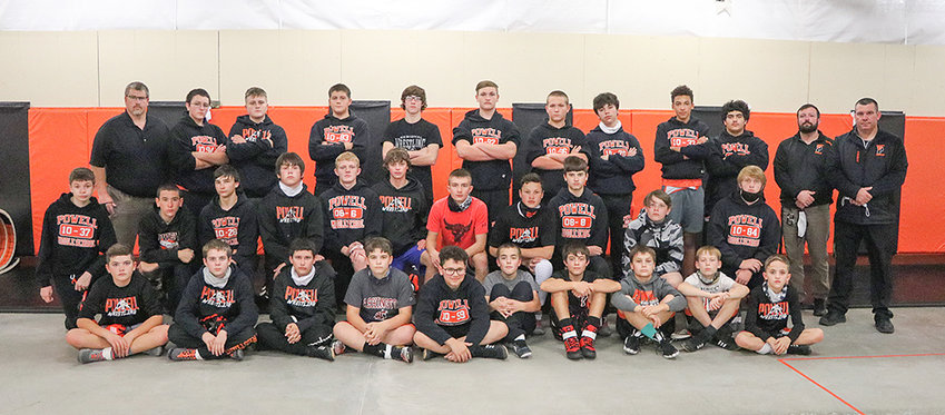 Powell Middle School wrestlers pose for a team photo. Pictured from left are: back row: Coach Richard Despain, Levi Murray, Denton Wainscott, Tucker Oliver, Kash Brazelton, Doug Bettger, Jacob Eaton, Enrique Gonzalez, Alex Jordan, Zain Younas, Coach Cody Kalberer and Coach Nate Urbach; middle row: Aiden Simonson, Patrick Haney, Chase Visocky, Dusty Carter, McKale Foley, Colten Preator, Cody Seifert, Keona Wisniewski, Alan Crawford, Mitchel Wainscott and Colin Wilson; front row: Dexter Opps, Sam Childers, Mason Coombs, Ryan Rivas, Rowan Diaz, Clinton Linnebur, Kaiden Jones, Wyatt Nicholson, Tyler Wenzel and Talon Nuss.