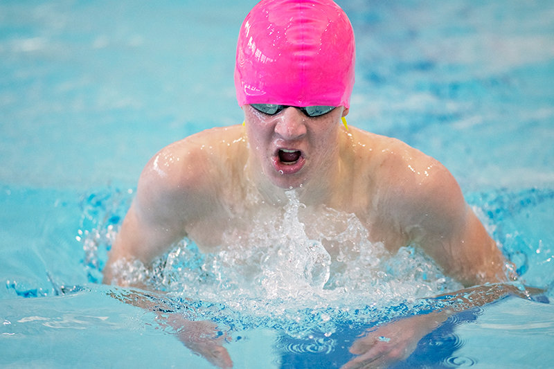 Kobus Diver competes in the breaststroke portion of the 200 individual medley at Tuesday's Last Chance Meet. The sophomore recorded a personal best of 2:30.78, which qualified him for state.