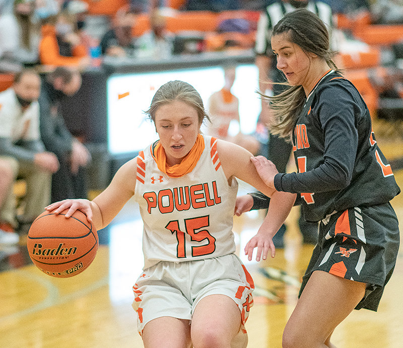 PHS girls' basketball player Abigail Urbach attempts to dribble past an opponent in an earlier season game against Worland. On Friday, the Panthers upset Lyman, which entered the week No. 2 in the 3A rankings.