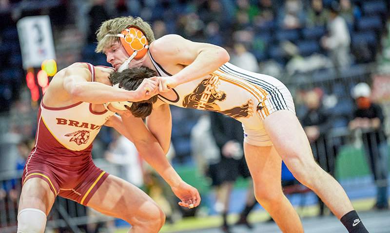Panther senior wrestler Seth Horton attempts a take down over Star Valley's Haze Child Friday at the 3A State Wrestling Championships in Casper. Horton finished with a second place medal.