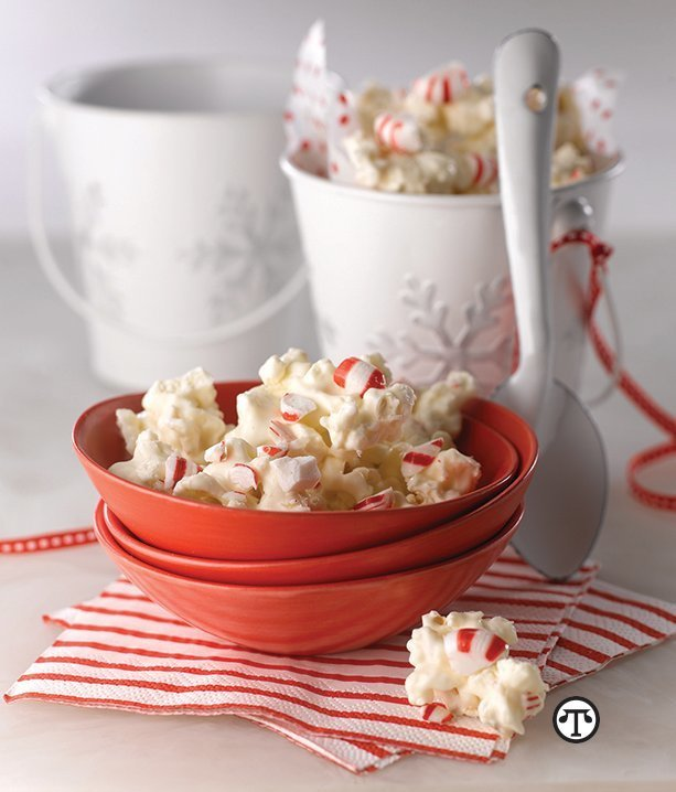 The taste of peppermint and white chocolate make this the perfect holiday popcorn to share or mix—and making this treat can be a great way to celebrate the holidays at home.