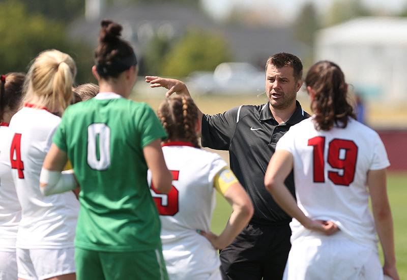 Rob Hill coaches the Northwest College women's soccer team in 2016.